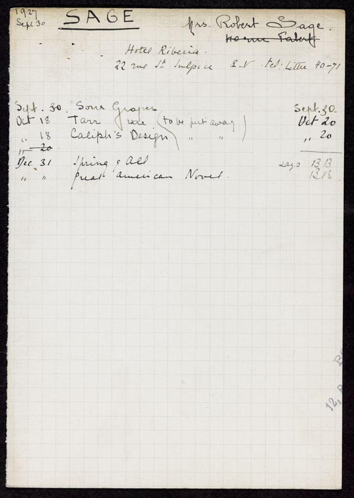 Mrs. Sage 1927 card (large view)