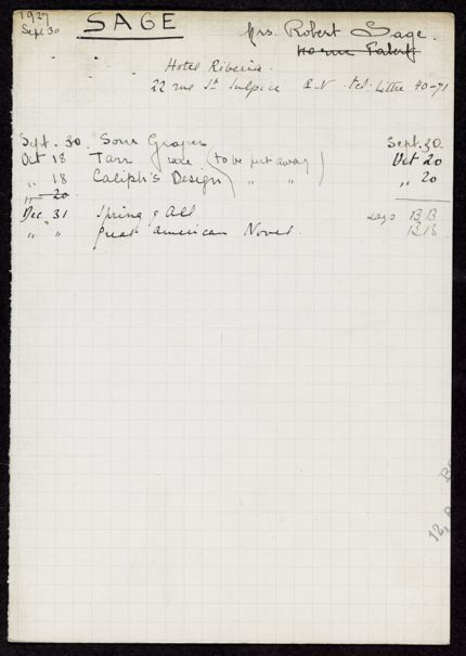 Mrs. Sage 1927 card