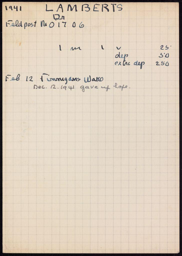 Dr. Lamberts 1941 card (large view)
