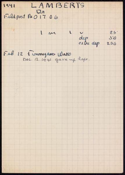 Dr. Lamberts 1941 card