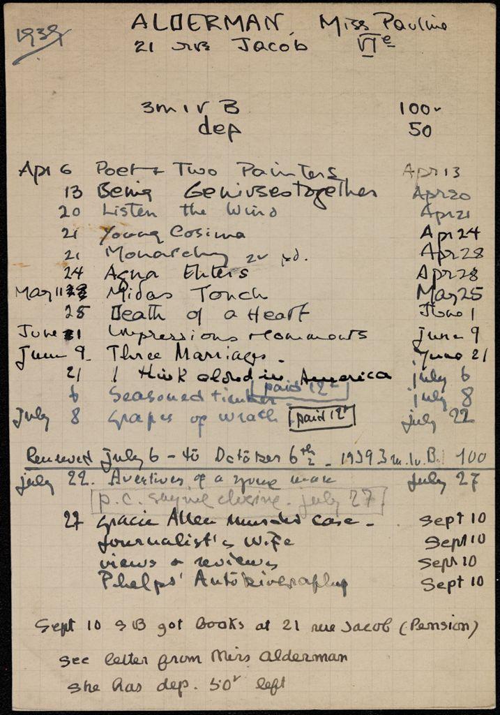 Pauline Alderman 1939 card (large view)
