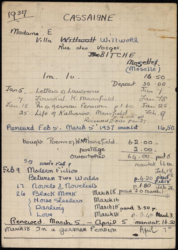 Ella Cassaigne 1937 card (large view)