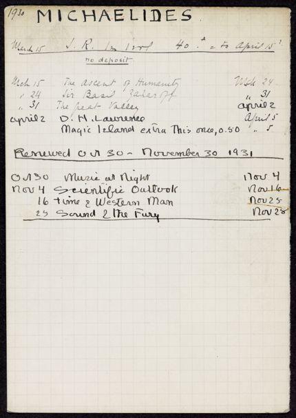 Mme L. Michaelides 1930 – 1931 card