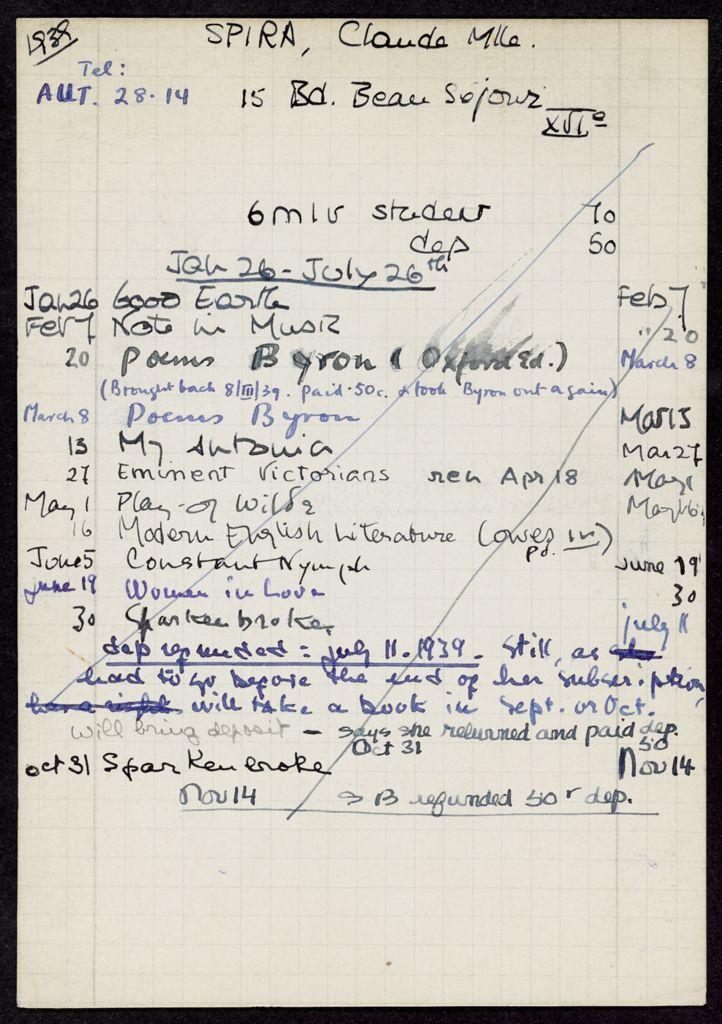 Claude Spira 1939 card (large view)