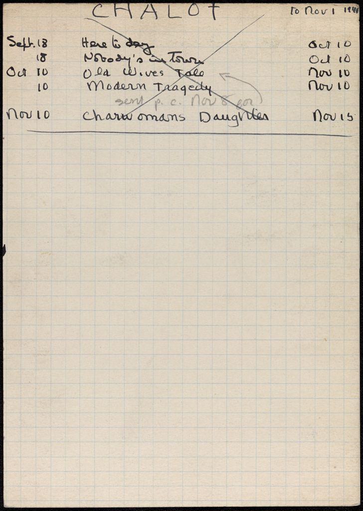 Monique Chalot 1941 card (large view)