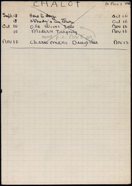Monique Chalot 1941 card