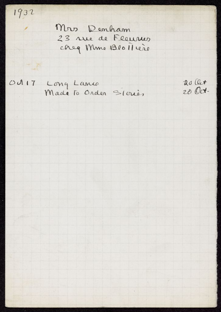 Mrs. Denham 1932 card (large view)