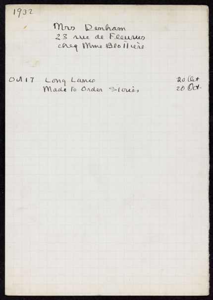 Mrs. Denham 1932 card