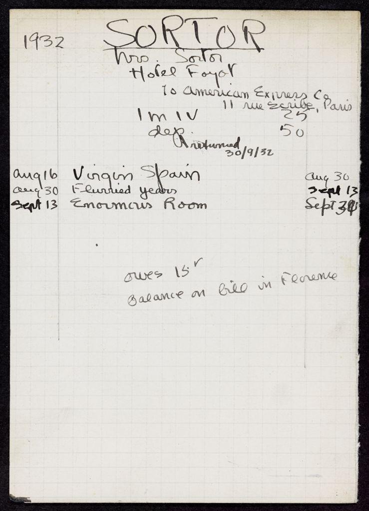 Mrs. Sortor 1932 card (large view)