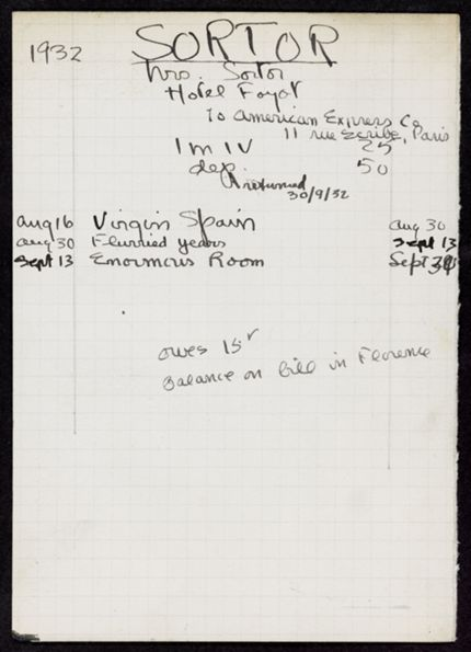 Mrs. Sortor 1932 card