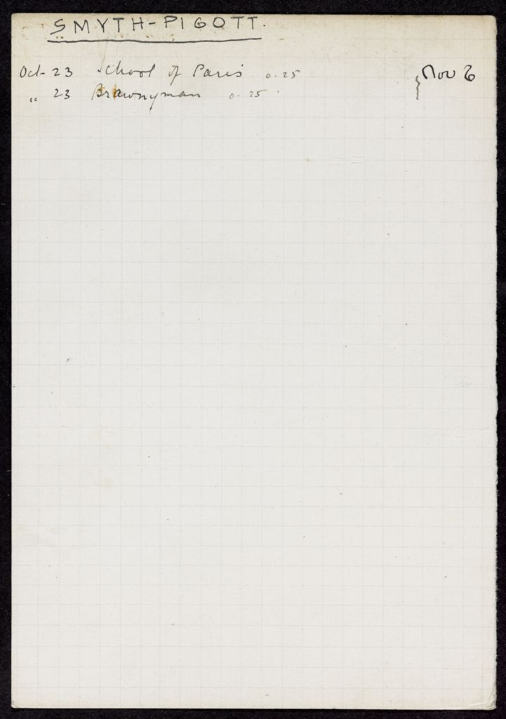 Clare Smyth-Pigott 1928 card (large view)