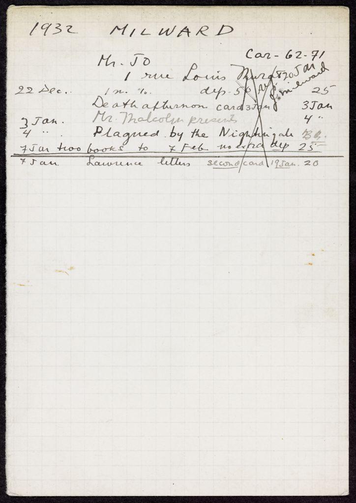 J. D. Milward 1932 – 1933 card (large view)