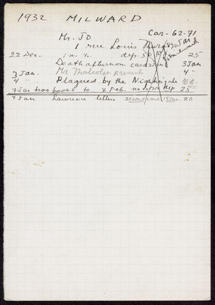 J. D. Milward 1932 – 1933 card