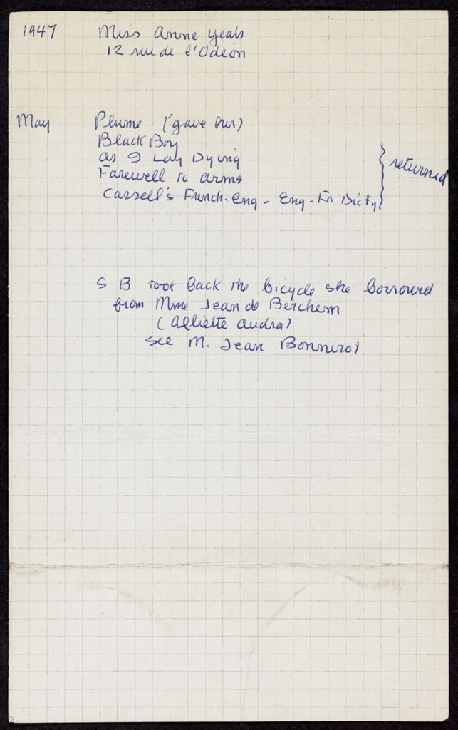 Anne Yeats 1947 card (large view)