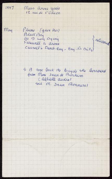 Anne Yeats 1947 card