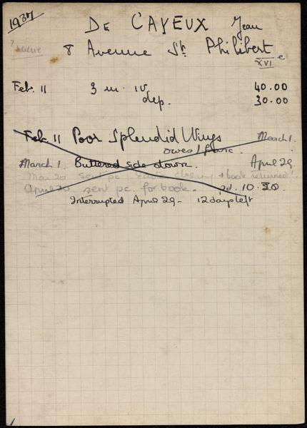 Jean de Cayeux 1937 card