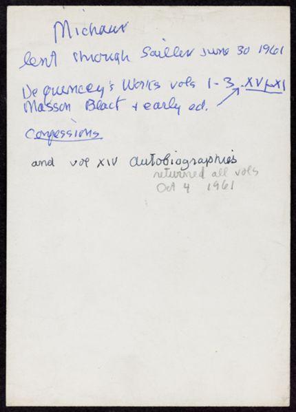 Henri Michaux 1961 card