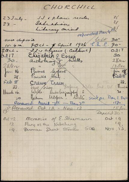 E. M. Churchill 1935 – 1936 card