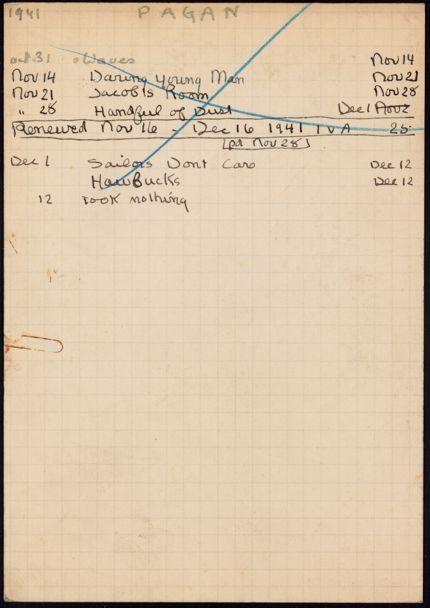 Marquis Pagan 1941 card