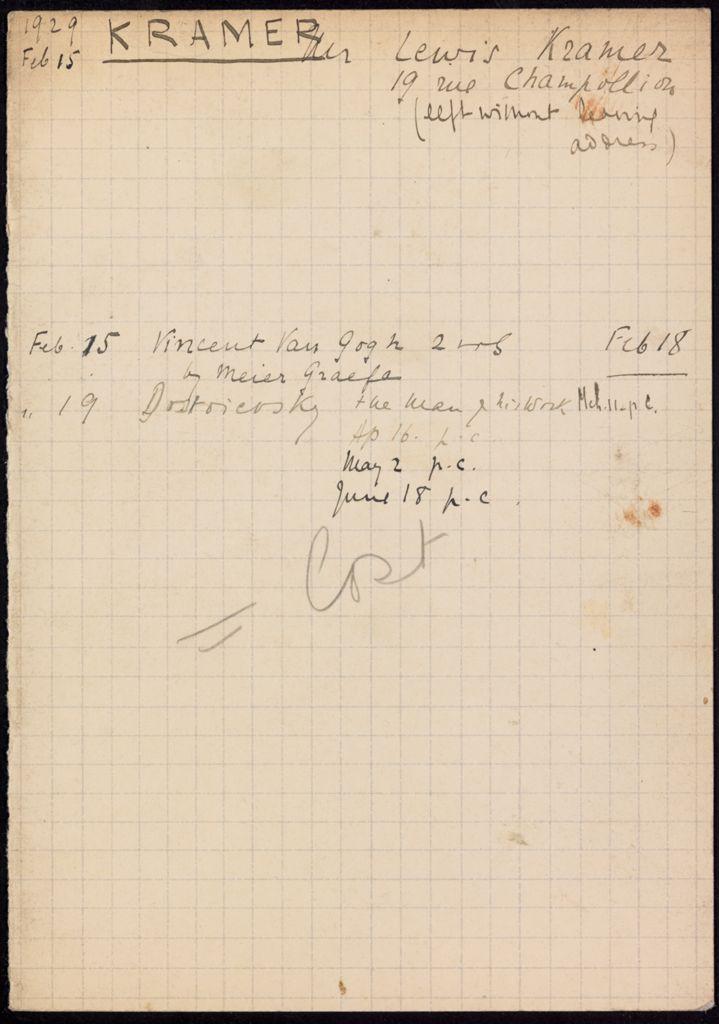 Lewis Kramer 1929 card (large view)