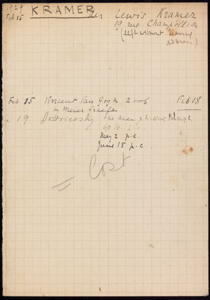 Lewis Kramer 1929 card