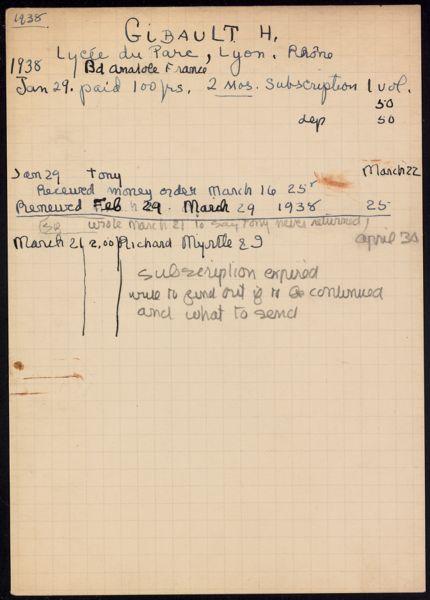 H. Gibault 1938 card