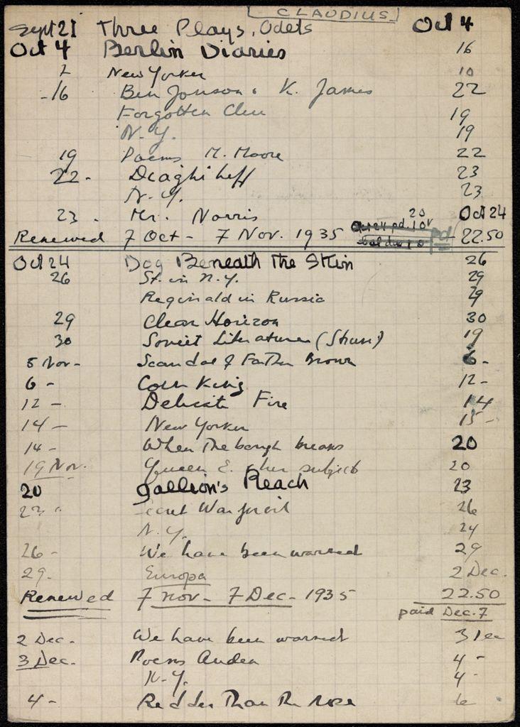Agnes Claudius 1935 card (large view)