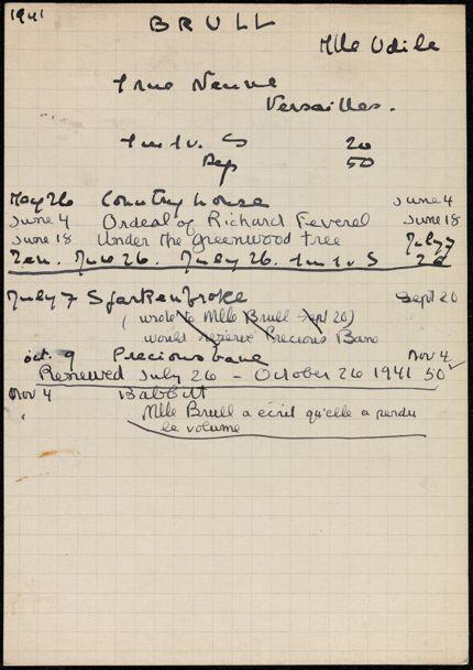 Odile Brull 1941 card