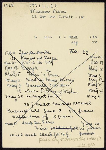 Mme Pierre Miller 1938 card