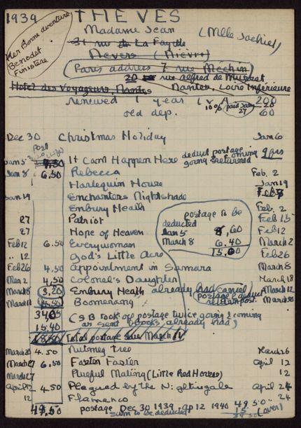 Elizabeth Theves 1939 – 1940 card