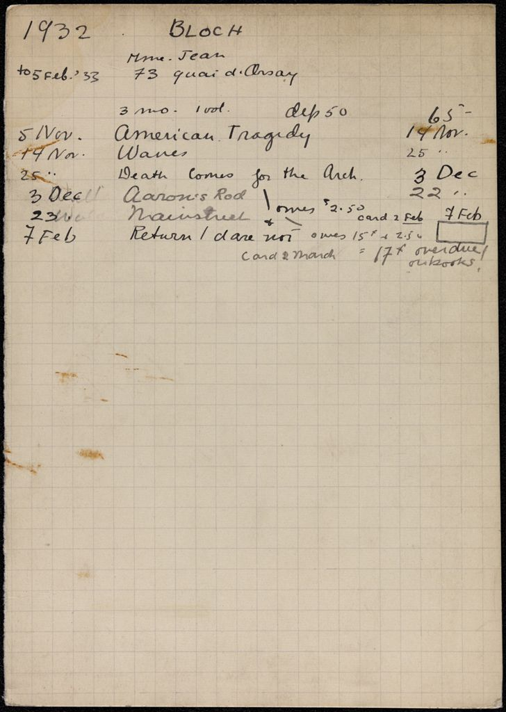 Marguerite Bloch 1932 – 1933 card (large view)