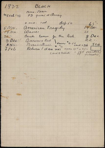 Marguerite Bloch 1932 – 1933 card