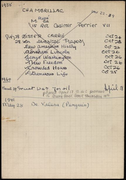 René Chambrillac 1938 – 1941 card