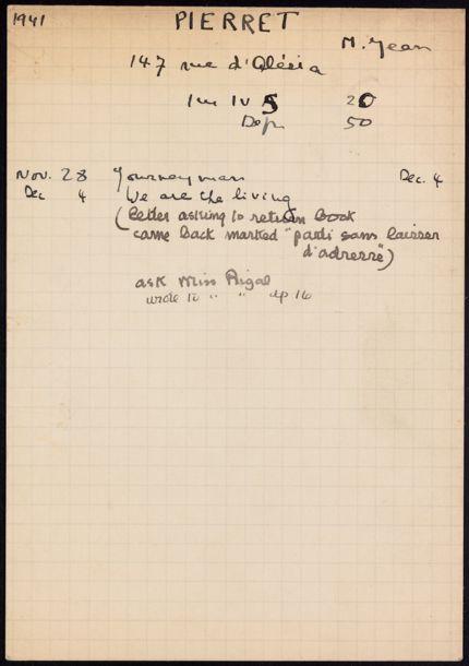 Jean Pierret 1941 card