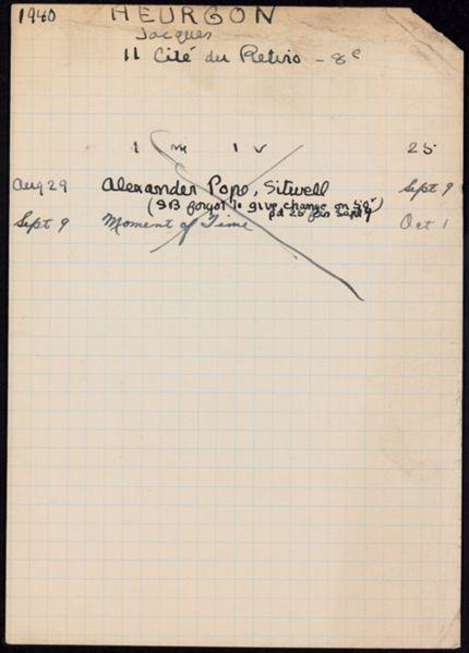 Jacques Heurgon 1940 card