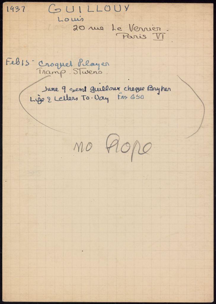 Louis Guilloux 1937 card (large view)