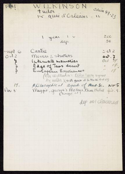 Tudor Wilkinson 1941 – 1942 card
