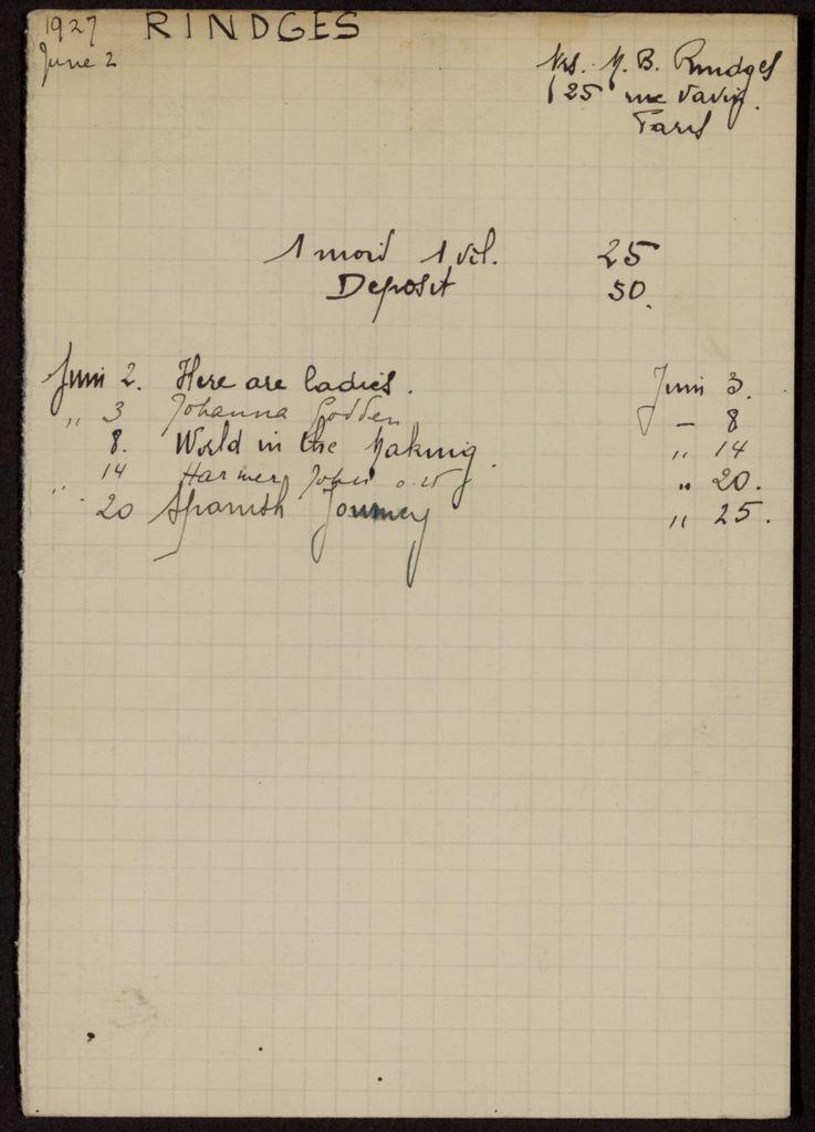 Mrs. M. B. Rindges 1927 card (large view)