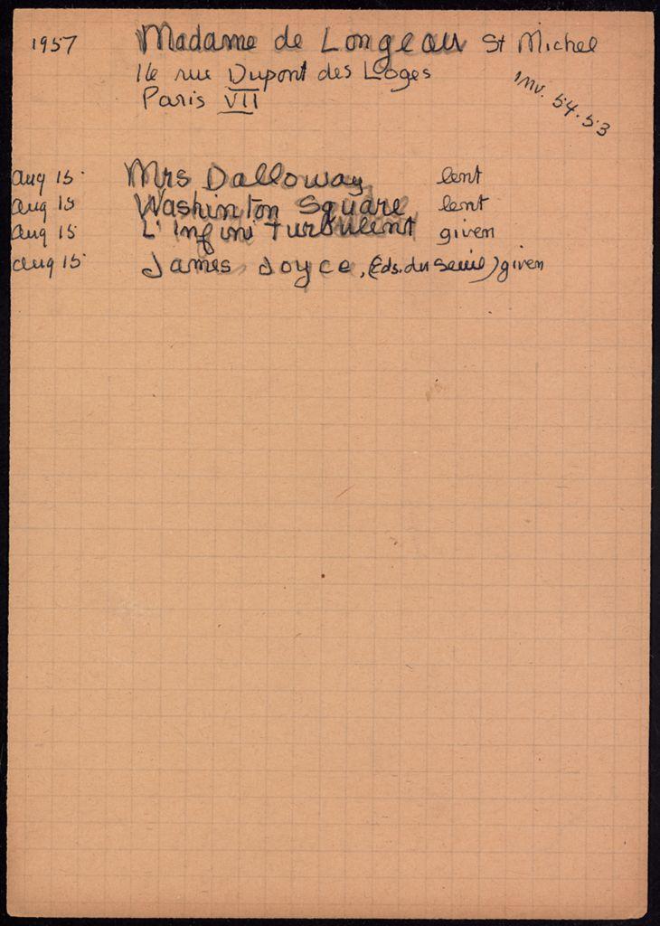 Mme de Longueau Saint-Michel 1957 card (large view)
