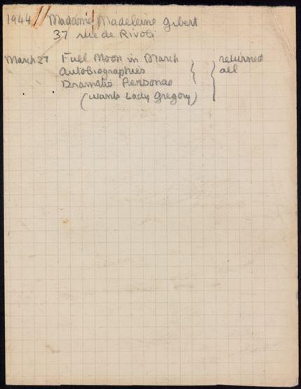 Madeleine Gibert 1944 card