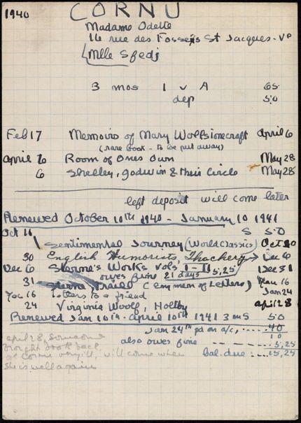 Odette Cornu 1940 – 1941 card