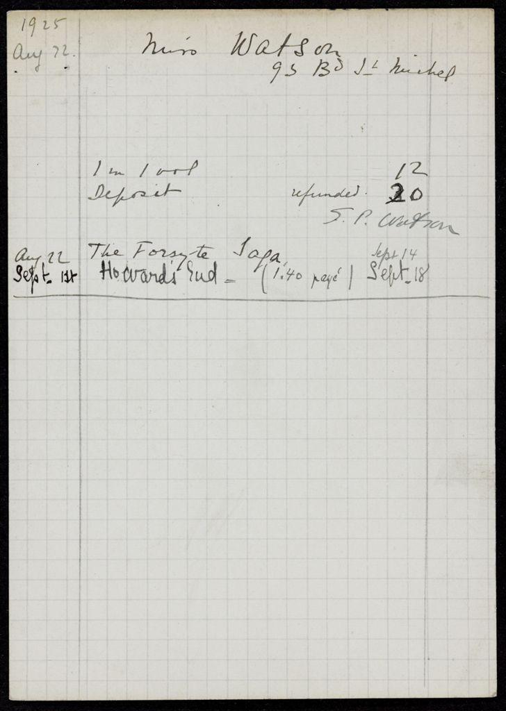 Sarah Pressly Watson 1925 card (large view)