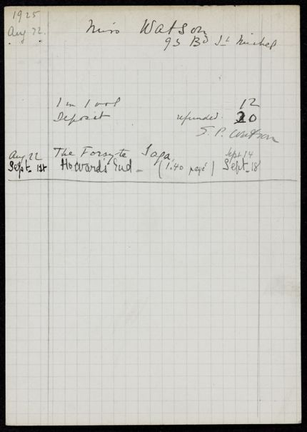 Sarah Pressly Watson 1925 card