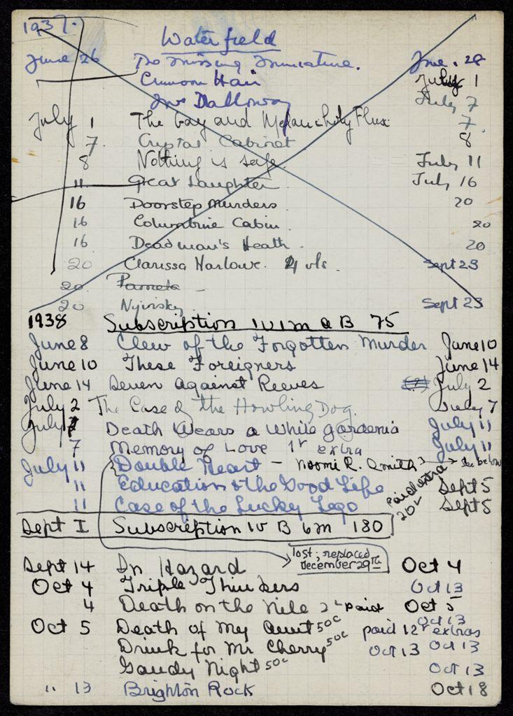 Mrs. Gordon Waterfield 1937 – 1939 card (large view)