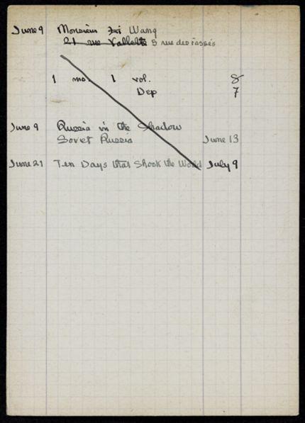 M. Wang 1921 card