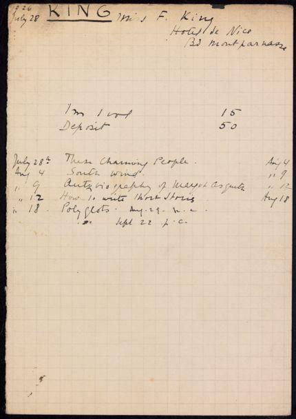 F. King 1926 card