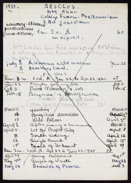 Anne Desclos 1939 – 1941 card