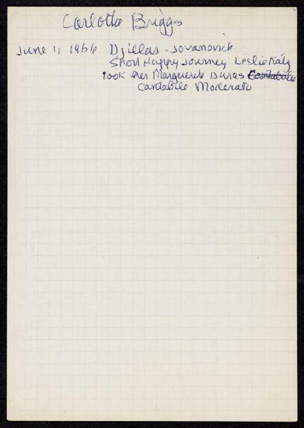 Carlotta Welles Briggs 1956 card