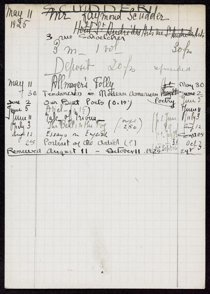 Raymond Scudder 1925 card (large view)
