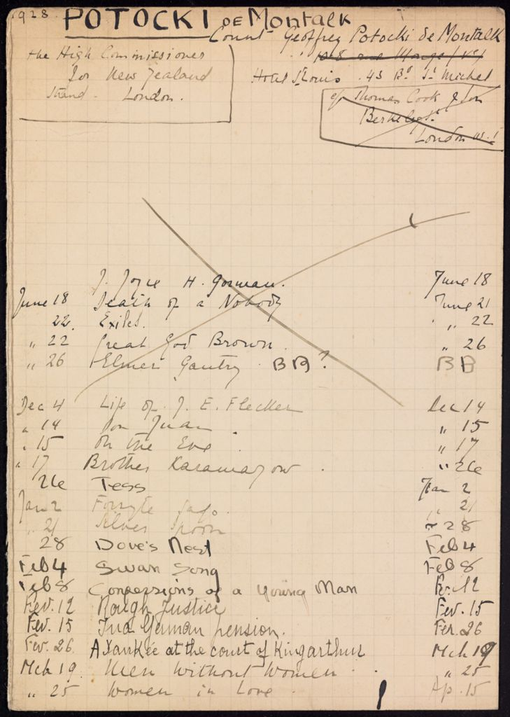 Geoffrey Potocki de Montalk 1928 – 1929 card (large view)